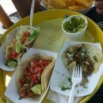 Picadillo taco, gringo taco, guacamole
