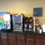Complimentary breakfast bar: milk, juice, yogurt, eggs, coffee, hot chocolate, oatmeal