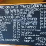 chalk board menu - coffees, teas, etc
