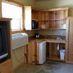 Kitchen area inside cabin