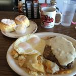 Chicken fried steak, eggs over easy, home fries and biscuits!!!! To die for! We were in hog heav