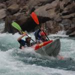 Tandem inflatable whitewater kayaking