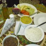 Dahl curry, basmati rice, mutton curry