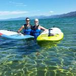 Swimming in the cool Lake Tahoe water