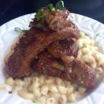 Balsamic glaze, fall-off-the-bone pork ribs with smoked mozzarella mac and cheese