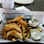 Perch dinner... my fish had a few bones but tasted fresh. Fries were a bit greasy and the tiny b