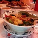 Large, colorful bowl of wonton soup!