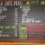 Al la carte menu, daily flavors (lower right) changes each day