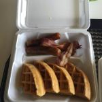 Belgium waffles with side of bacon and sausage to go