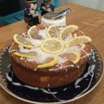 Gluten and dairy free lemon cake at Chapel House, Dunster