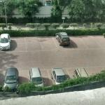 Elevation view of parking lot + Greenery