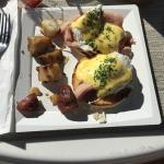 Farm fresh eggs benedict at the cafe
