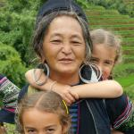 Whilst on our trekking tour - my two girls with a 60 year old tribal lady