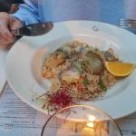 Cod with prawn risotto