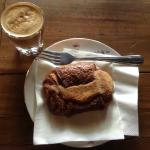 Cortado and chocolate croissant (pain au chocolate)