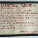 Sign above shared shower (for rooms without private bath)