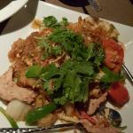 The entrée is Pad Woon Sen with chicken and added cilantro. We also had the Tom Yum Nam Kon soup