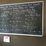 All of the local suppliers for this farm-to-table restaurant are updated daily on the chalkboard