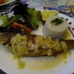 truite amande riz salade