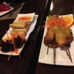 Chicken Spring Rolls & Satay Chicken Skewers