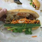 Vietnamese Sandwich with BBQ Pork, cucumber and cilantro