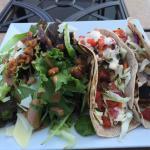 Mahi Mahi Tacos, sliced beet salad