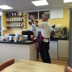 Wendy and James doing what they do best, friendly welcome and the best in town coffee & cakes