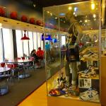 dining rooms are filled with sports memorabilia