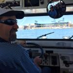 Husband driving the Duck in McCovey Cove (they do allow guests to drive in the water)
