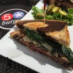 Hamburger of the month; patty melt on rye.  I added sautéed spinach and mushrooms to the carmeli