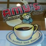 Amy's logo on the door to welcome you.