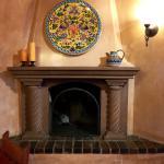 Fireplace inside the breakfast area
