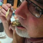 buddy eating fried mackeral skeleton