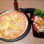 Potato, Corn & Bacon Pizza & Side Salad