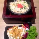 Spicy Cod Roe & Shrimp Udon & Side Salad