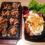 Takoyaki (Left); Tuna & Potato Salad