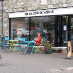Steam Coffee House tucked in behind old station
