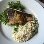 Sea bass with coconut risotto