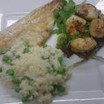 Seabass and scallops with a pea risotto