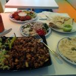 Steak special, falafel, small mixed mezze, naan and hummus