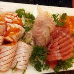 mixed sashimi dish with salmon belly & toro