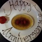 Nice touch by the restaurant in helping us celebrate our anniversary.