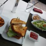 caeser salad and amber jack sandwich with waffle fries