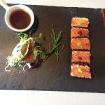 Tataki de saumon perle de wasabi