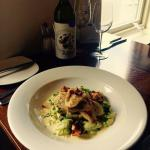 Fillet of North Atlantic Brill, Girolle mushrooms, Petit pois a la Française & Crushed new potat