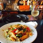 Chicken Stir Fry and a glass of the house Pinot Grigio
