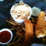 Perch with fries and dill dip