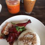 Crispy duck and pork rice