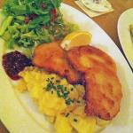 Schnitzel with excellent side salad!!