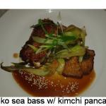 Panko sea bass w/ Kimchi pancakes